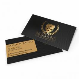 Cartão de visit com Hot Stamping Couchê 300g 9x5cm Frente Laminação Fosca com Hot Stamping Corte Reto