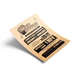 Panfleto - Preto e Branco Papel Sulfite 75g (Papel Reciclato) 10x14cm Frente  Corte Reto